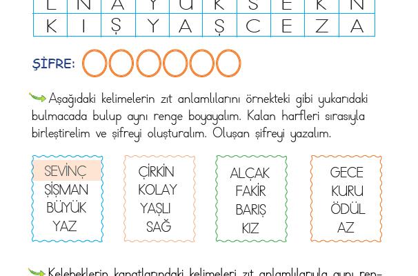 1. Sınıf Zıt Anlamlı Kelimeler – 2