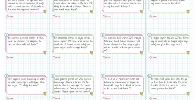 3. Sınıf Çıkarma İşlemi Problemleri – 1