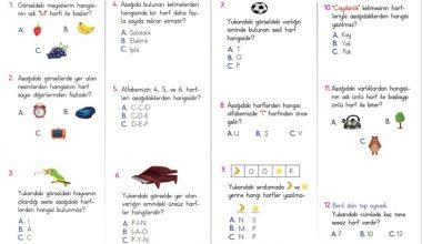 1. Sınıf Harf Bilgisi Kazanım Testi – 1