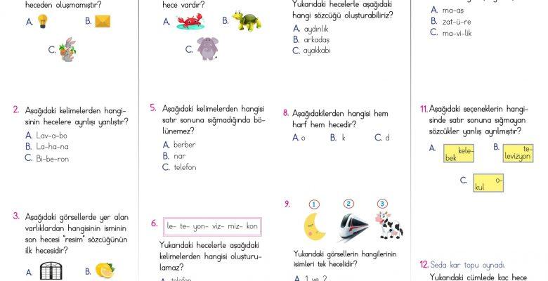 1. Sınıf Hece Bilgisi Kazanım Testi – 1