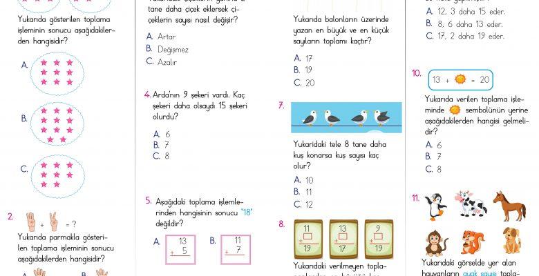 1. Sınıf Toplama  İşlemi Kazanım Testi – 1