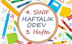 4. Sınıf Haftalık Ödev (1. Dönem 3. Hafta)