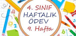 4. Sınıf Haftalık Ödev (1. Dönem 9. Hafta)