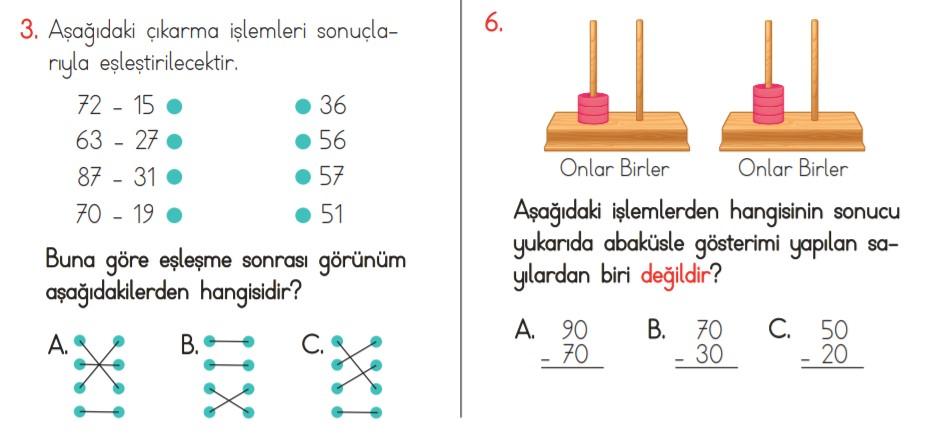 2. sınıf çıkarma işlemi testi soru örnekleri