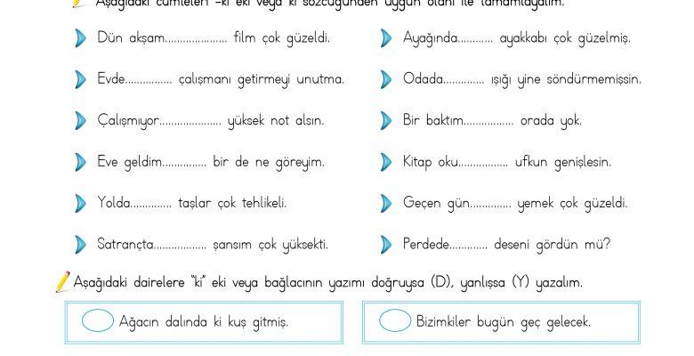 4. Sınıf Türkçe(Yazım Kuralları – Ki'nin Yazımı)