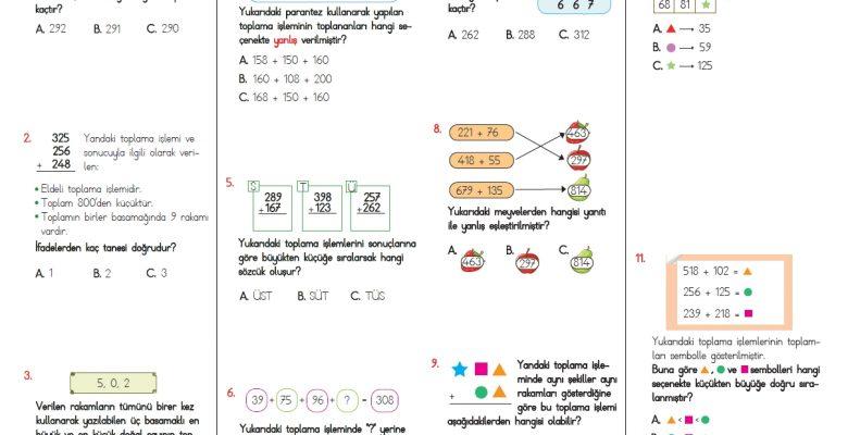 3. Sınıf Toplama İşlemi Testi – 2