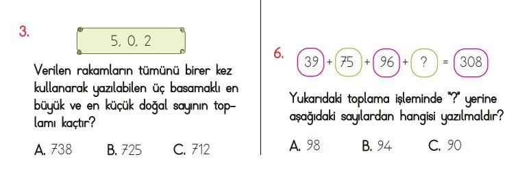 toplama işlemi testleri 3. sınıf