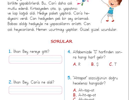 1. Sınıf Okuma Anlama Metni – 20 (Mavi Uçurtmam)