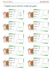 1. sınıf çıkarma işlemleri