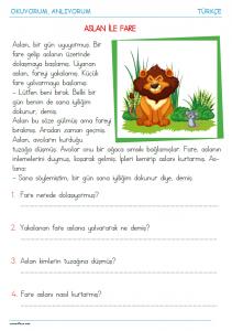 1. sınıf okuma anlama metni Aslan ile Fare