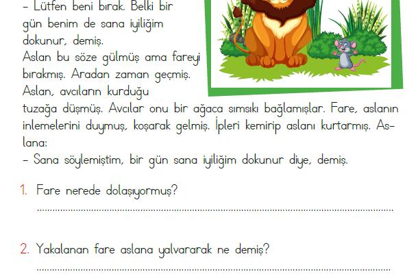 1. Sınıf Okuma Anlama Metni – 17 (Aslan ile Fare)