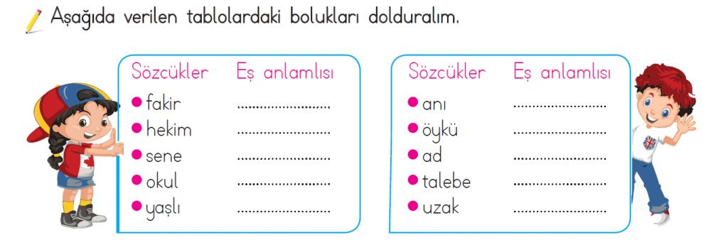 2. sınıf eş anlamlı kelimeler listesi