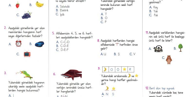1. Sınıf Harf Bilgisi Testi – 1