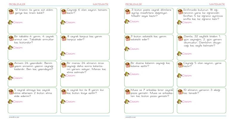 2. Sınıf Kesir Problemleri – 2