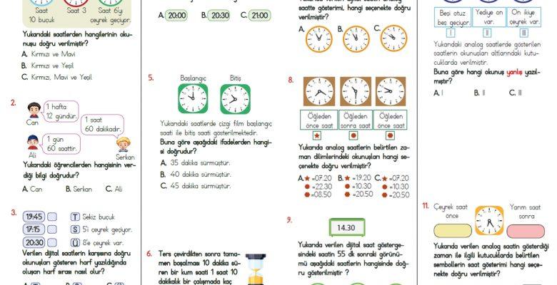 3. Sınıf Zamanı Ölçme Testi – 1